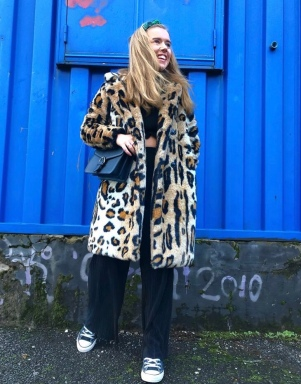 leopard fur coat cheap