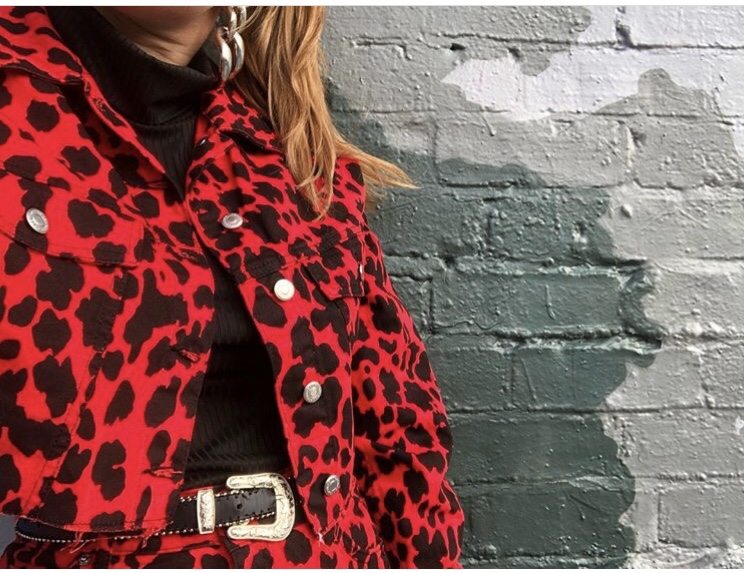 topshop red leopard print