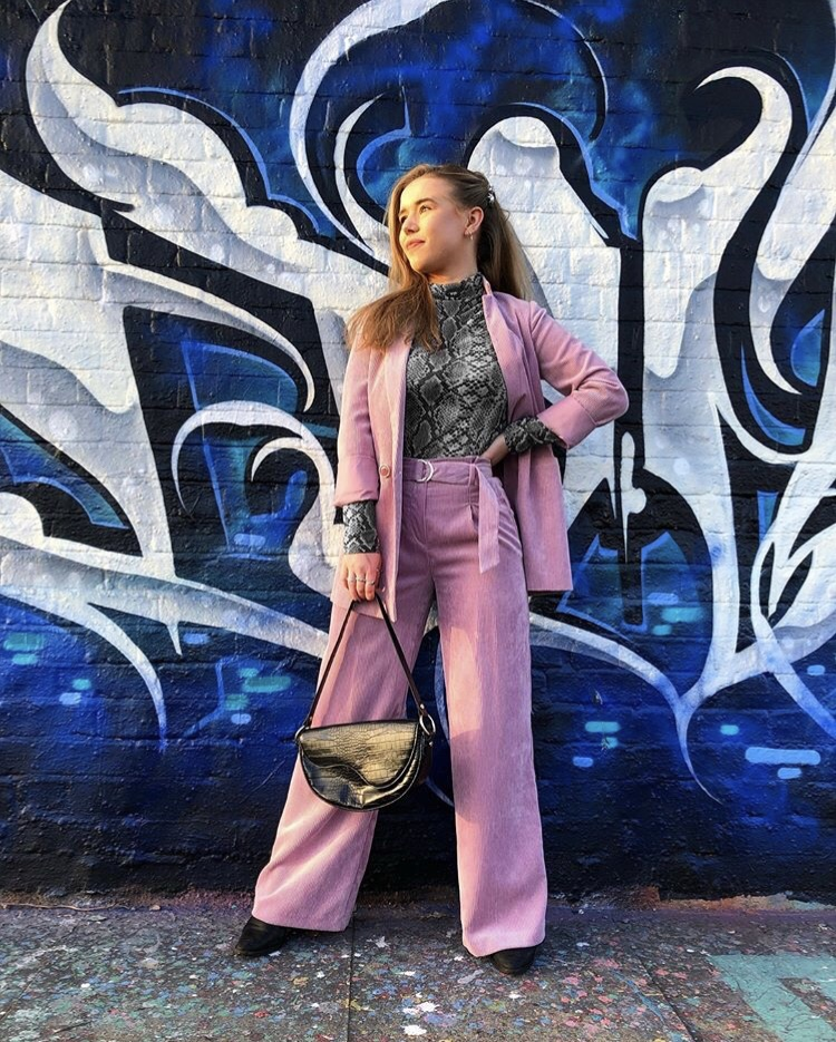 lilac cord suit